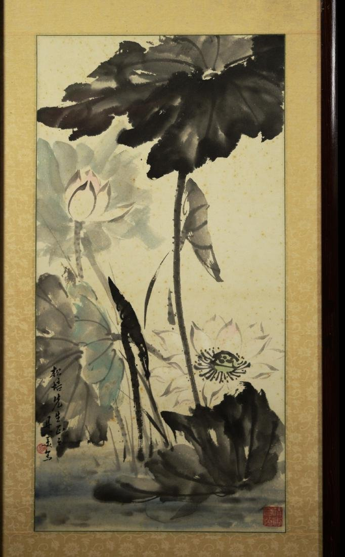 """Chinese Painting on Paper """"Lotus"""" by Liang, Danmei - 2"""