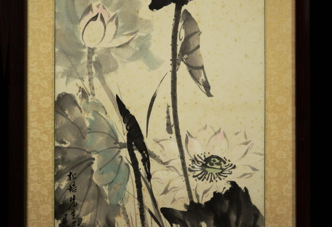 """Chinese Painting on Paper """"Lotus"""" by Liang, Danmei - 4"""