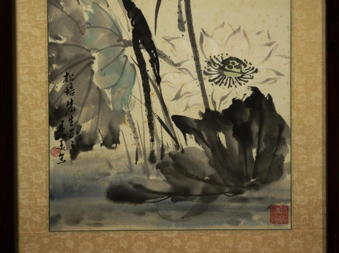 """Chinese Painting on Paper """"Lotus"""" by Liang, Danmei - 5"""