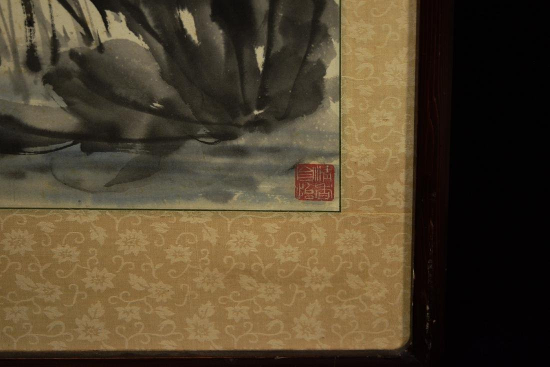 """Chinese Painting on Paper """"Lotus"""" by Liang, Danmei - 7"""