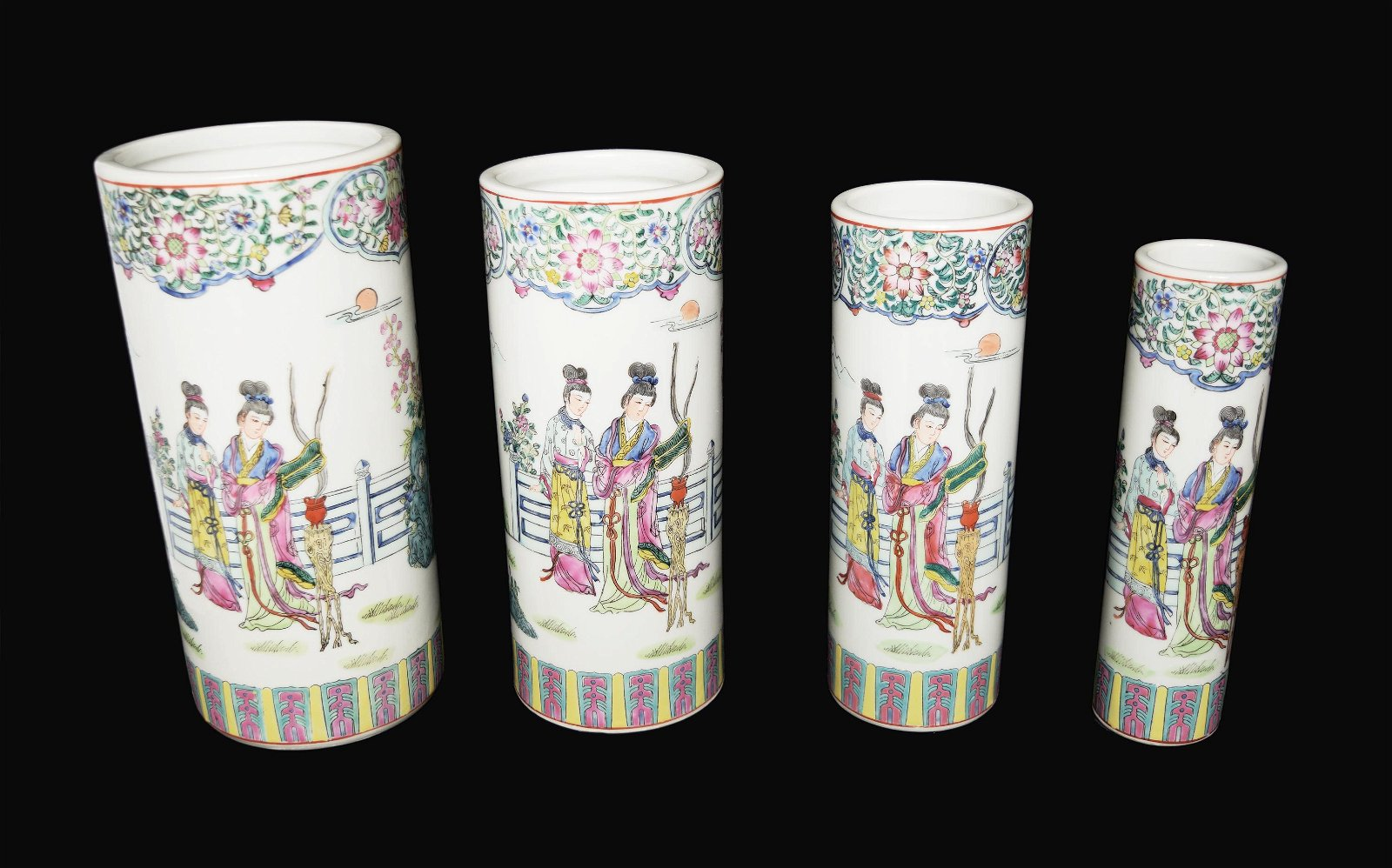 A Chinese Famille Rose Porcelain Set Brush Pots with