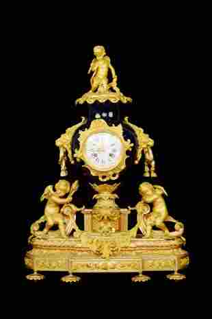 A French Indigo Porcelain Clock with Gilt Bronze