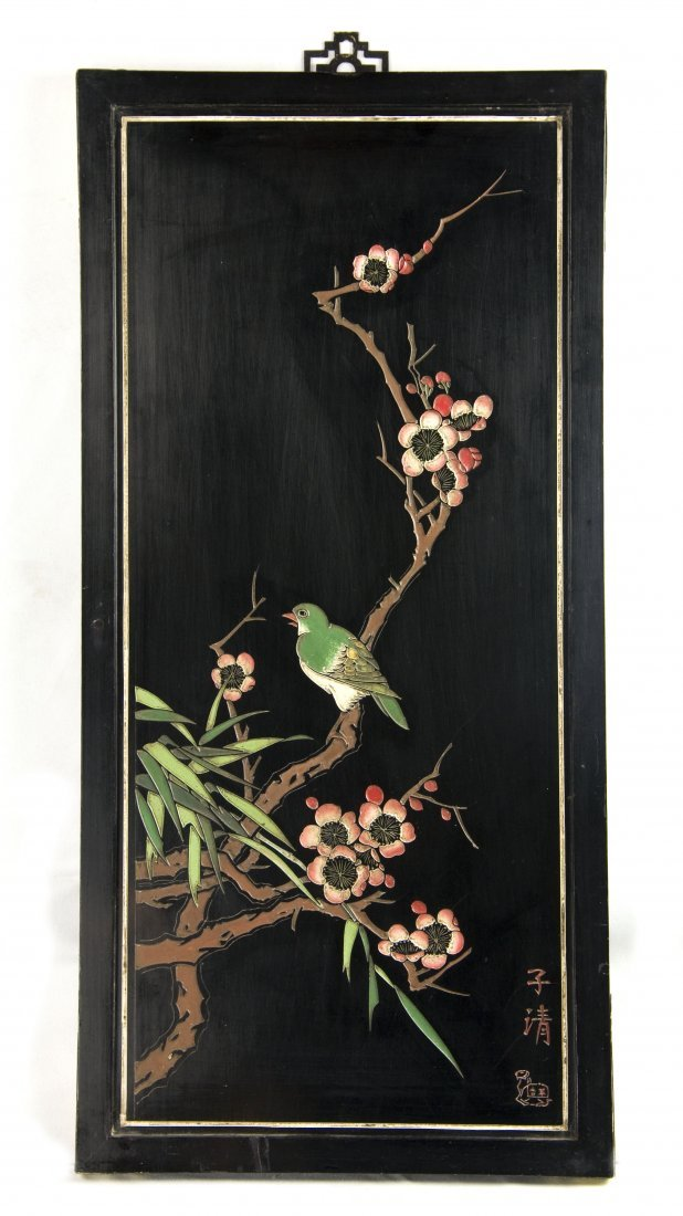 """Black Lacquer """"Bird of Early Spring"""" Wall Panel"""