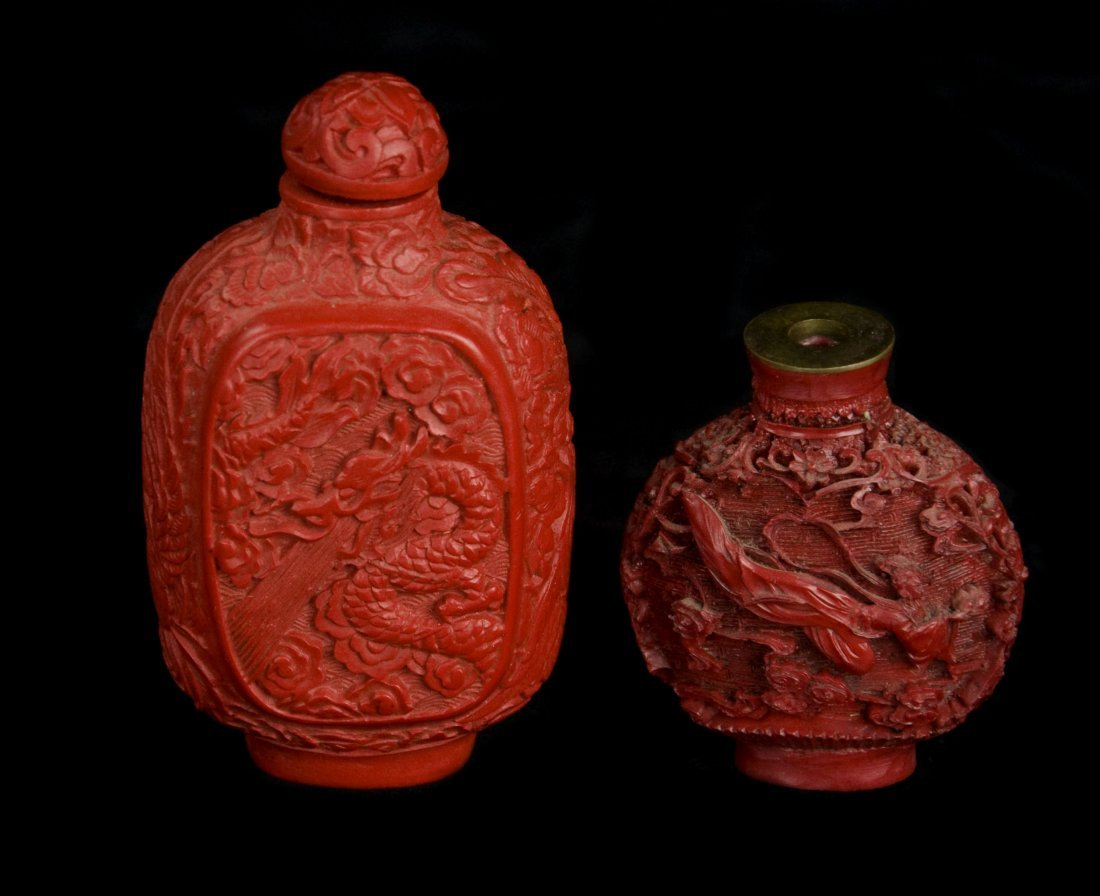 Red Lacquer Dragon and Fairy Snuff Bottles (Pair)