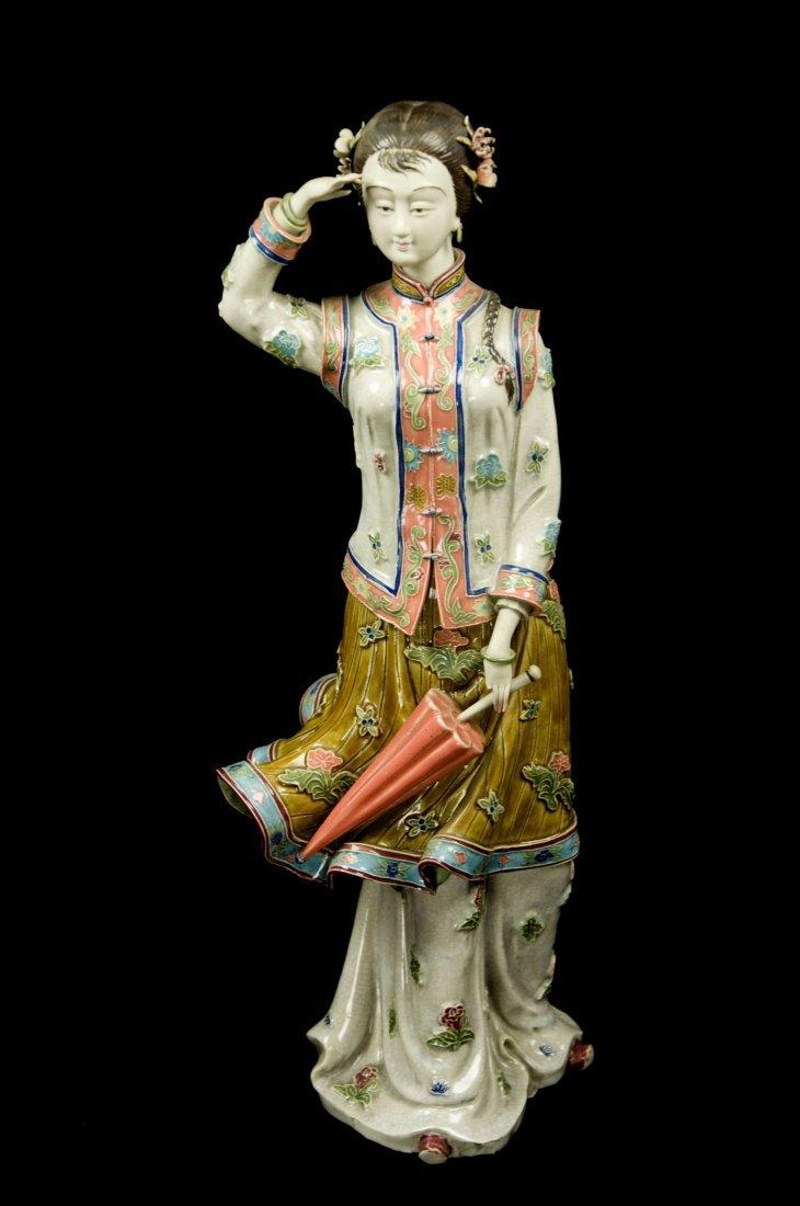 """Republic Era Chinese Porcelain Figurine """"Lady Holding"""