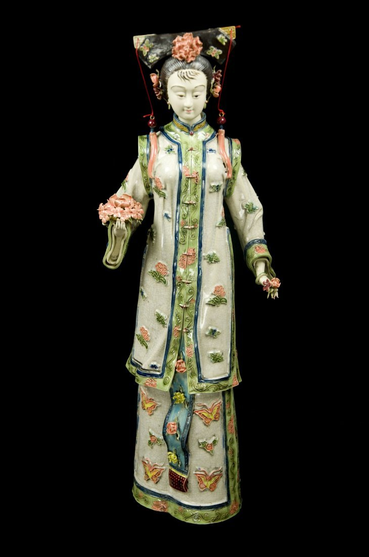 """Republic Era Chinese Porcelain Figuring """"Lady with"""