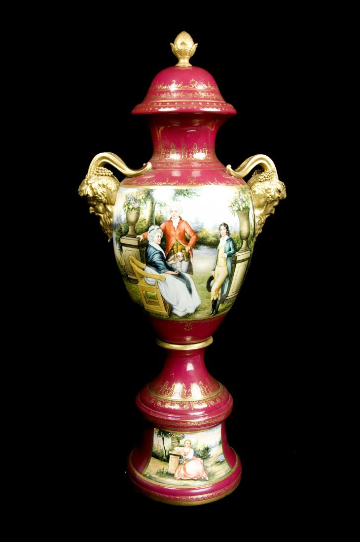 19TH century  large hand painted severe style porcelain