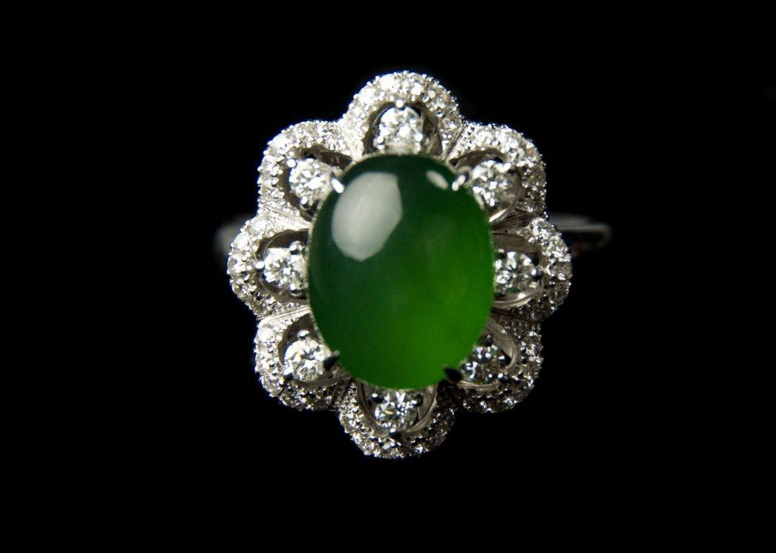 Green Jadeite Ring(18K Platinum with Splints)Size 16