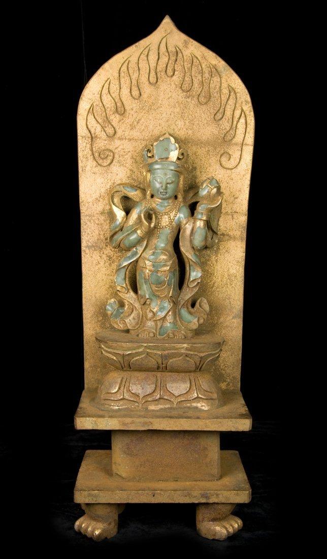 19TH century Chinese Jade Buddha Wrapped in bronze Gilt