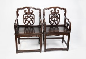 A Pair Of Chinese Old Hardwood Armchairs With Hollow