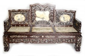 A Chinese Old Siamese Rosewood Couch With Marble