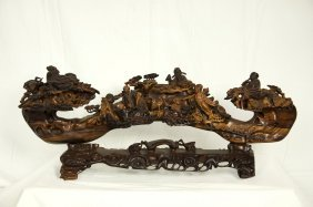 """A Huanghuali Wood Carved Ruyi """"eight Immortals Crossing"""