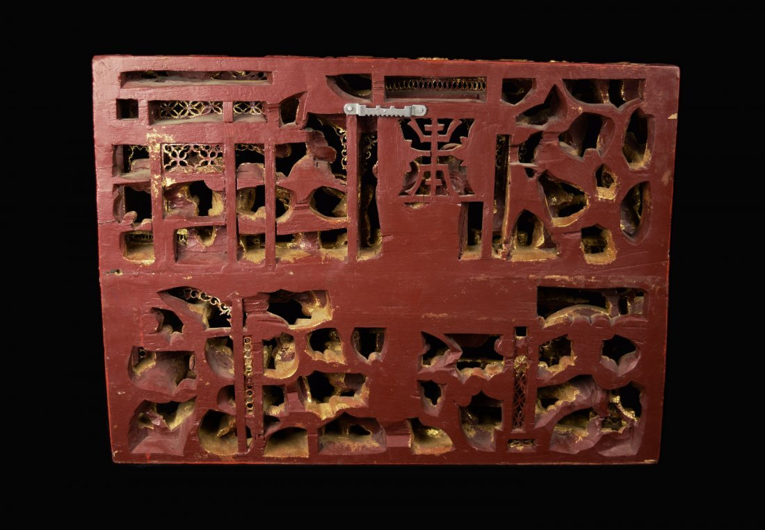 A Republic Era Chinese Camphor Wood Carved Haning Panel - 8