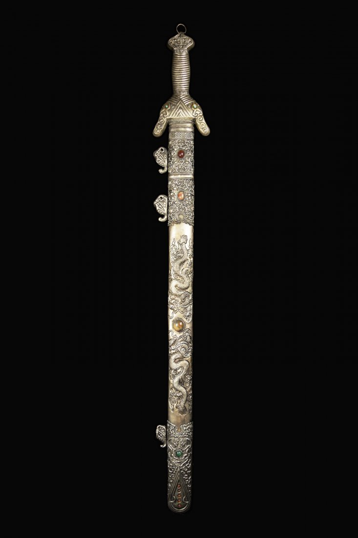 An Old Chinese Sword with Agate Studded Scabbard of