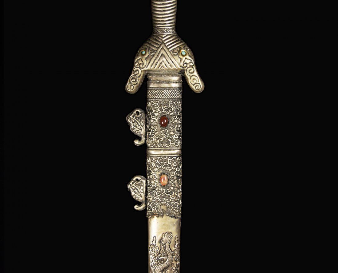 An Old Chinese Sword with Agate Studded Scabbard of - 3