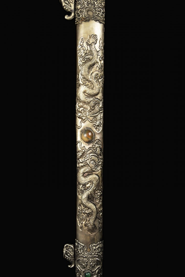 An Old Chinese Sword with Agate Studded Scabbard of - 4