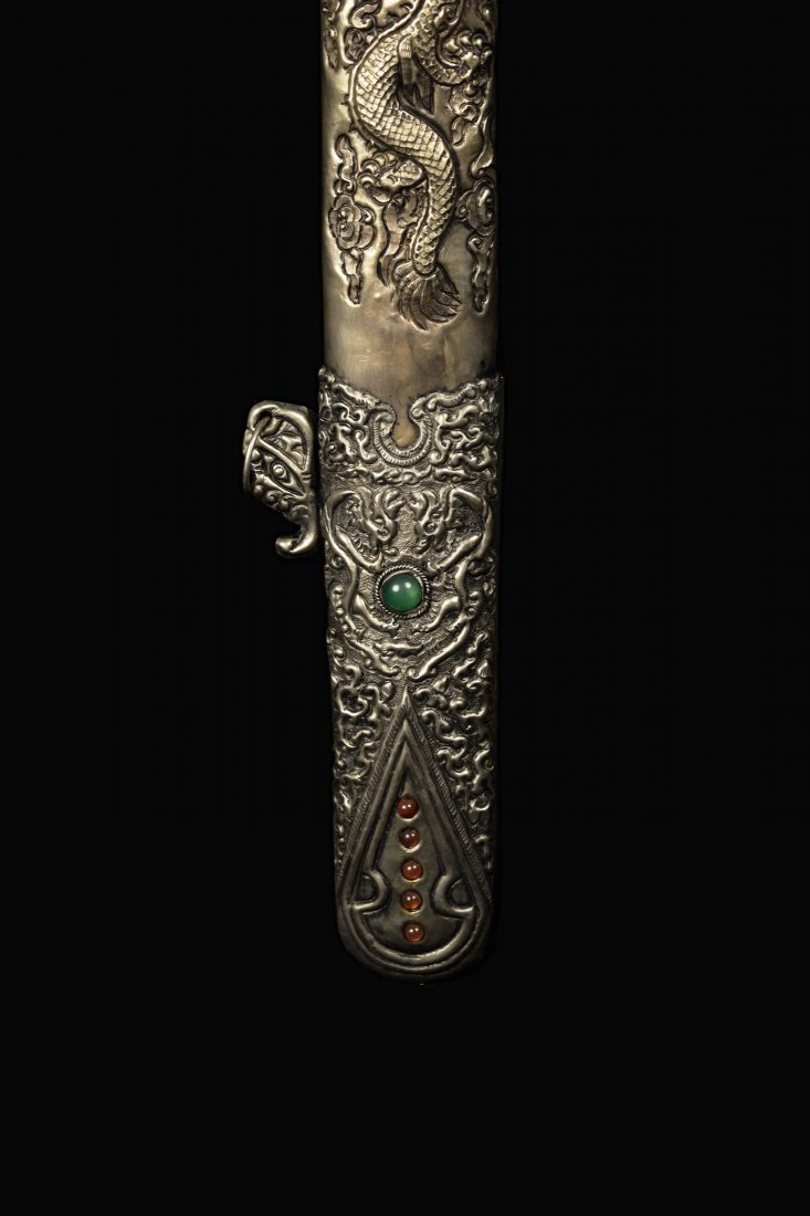 An Old Chinese Sword with Agate Studded Scabbard of - 5