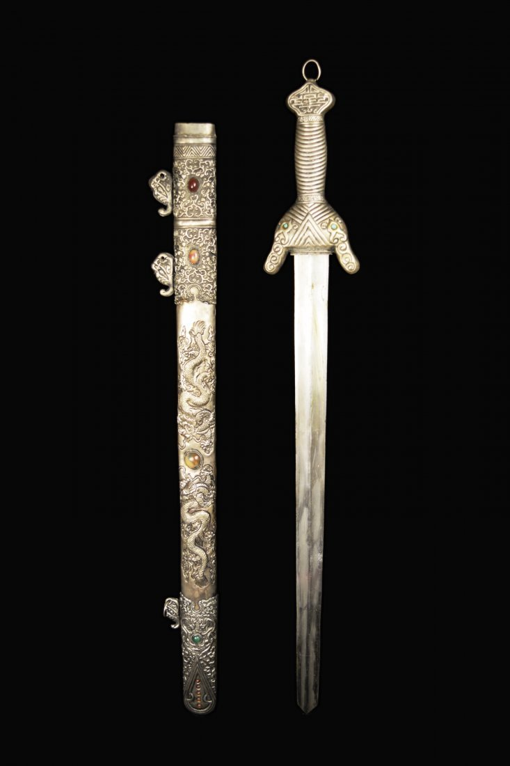 An Old Chinese Sword with Agate Studded Scabbard of - 6