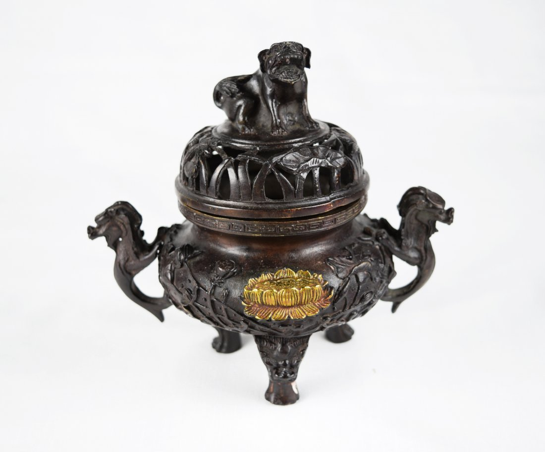 A Chinese Bronze Lion Lid Incense Burner with Dragon