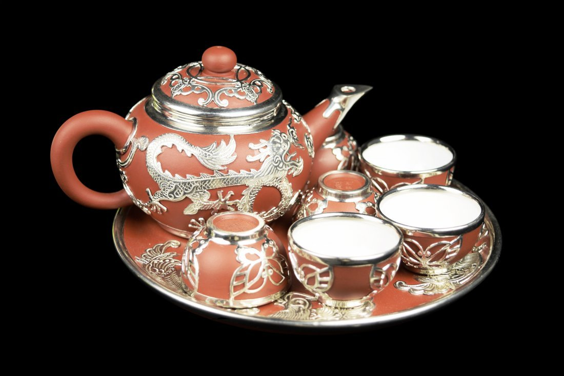 Chinese Yixing Clay Tea Set Framed with Sliver Plated