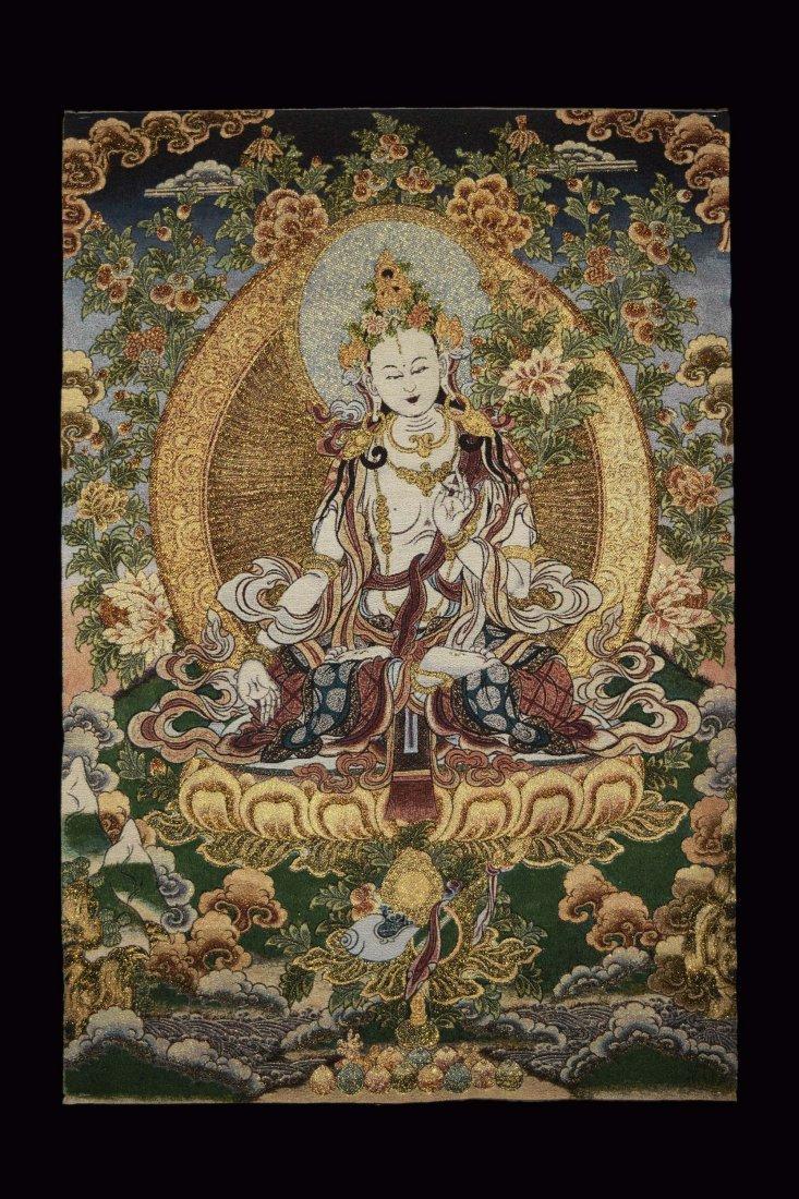 A Woven Tibetan Thangka of Bodhisattva