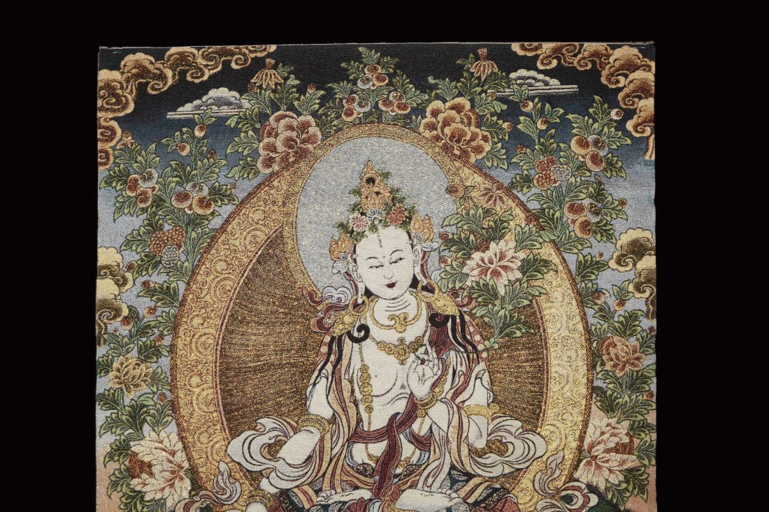 A Woven Tibetan Thangka of Bodhisattva - 2