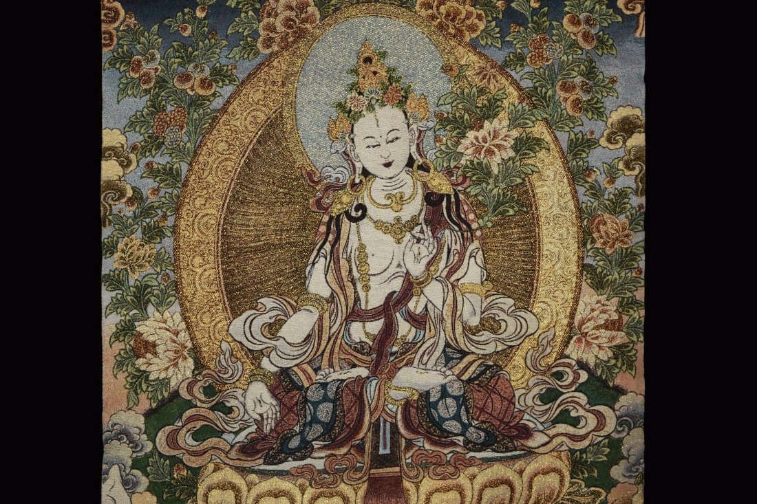 A Woven Tibetan Thangka of Bodhisattva - 3