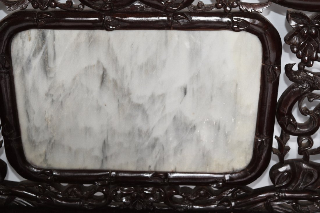 An Old Chinese Hardwood Sofa with Marble Inlaid Back - 2