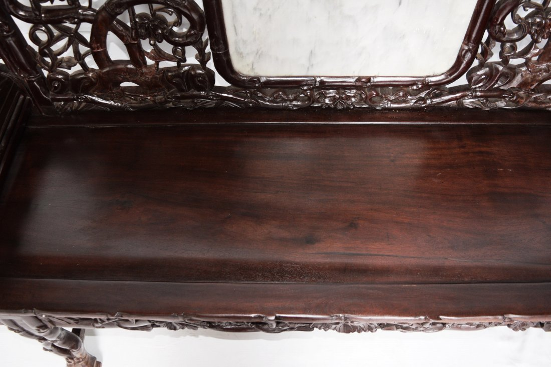 An Old Chinese Hardwood Sofa with Marble Inlaid Back - 5