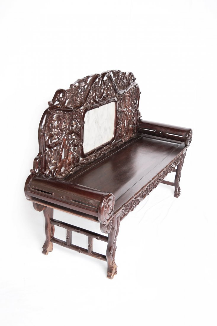 An Old Chinese Hardwood Sofa with Marble Inlaid Back - 6