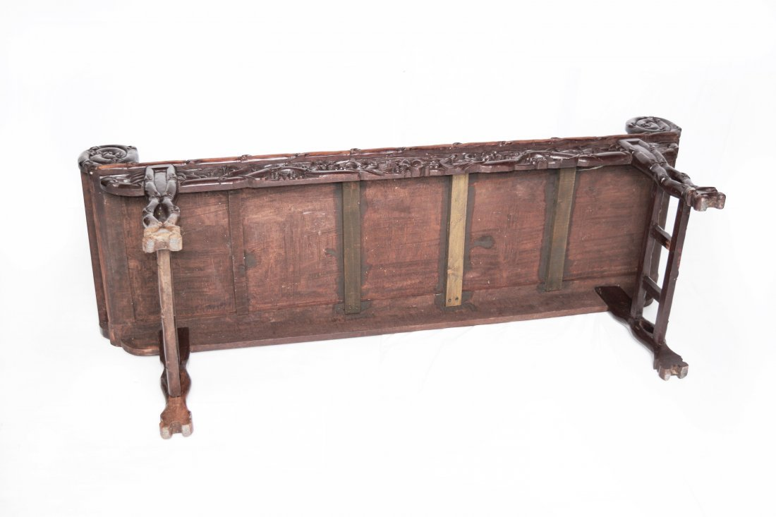 An Old Chinese Hardwood Sofa with Marble Inlaid Back - 7