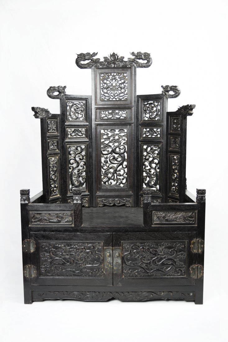 A Chinese Nauclea (Heitan) Wood Shrine with Chest of