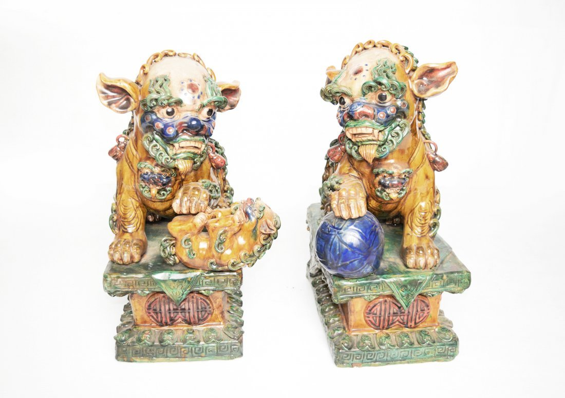A Pair of Republic Era Chinese Tri-Coloured Pottery
