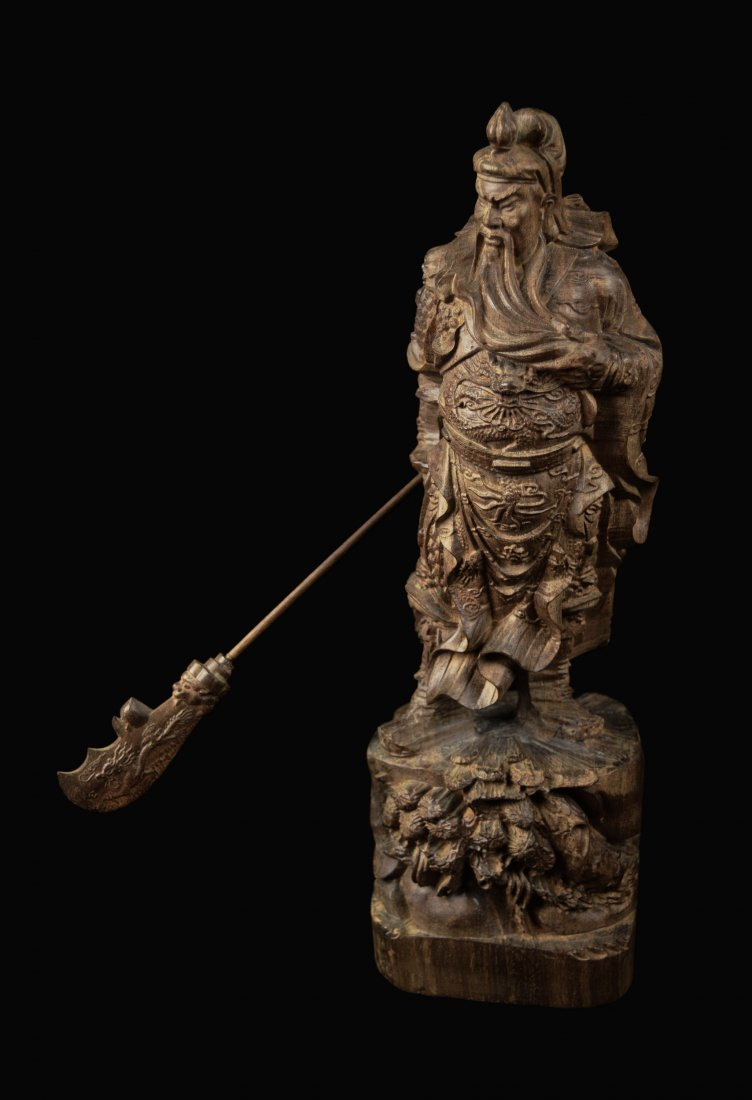 A Chinese Agilawood Carved Guangong Statue