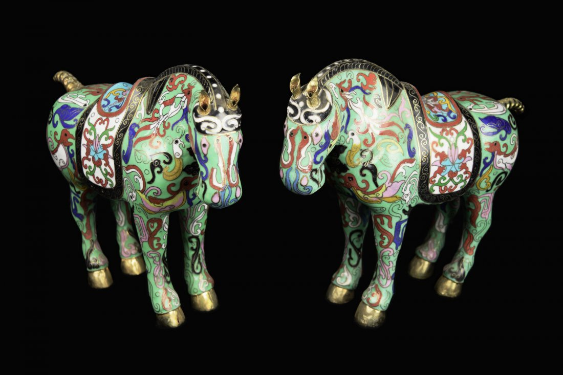 A Pair of Old Chinese Cloisonne Han Dynasty Style