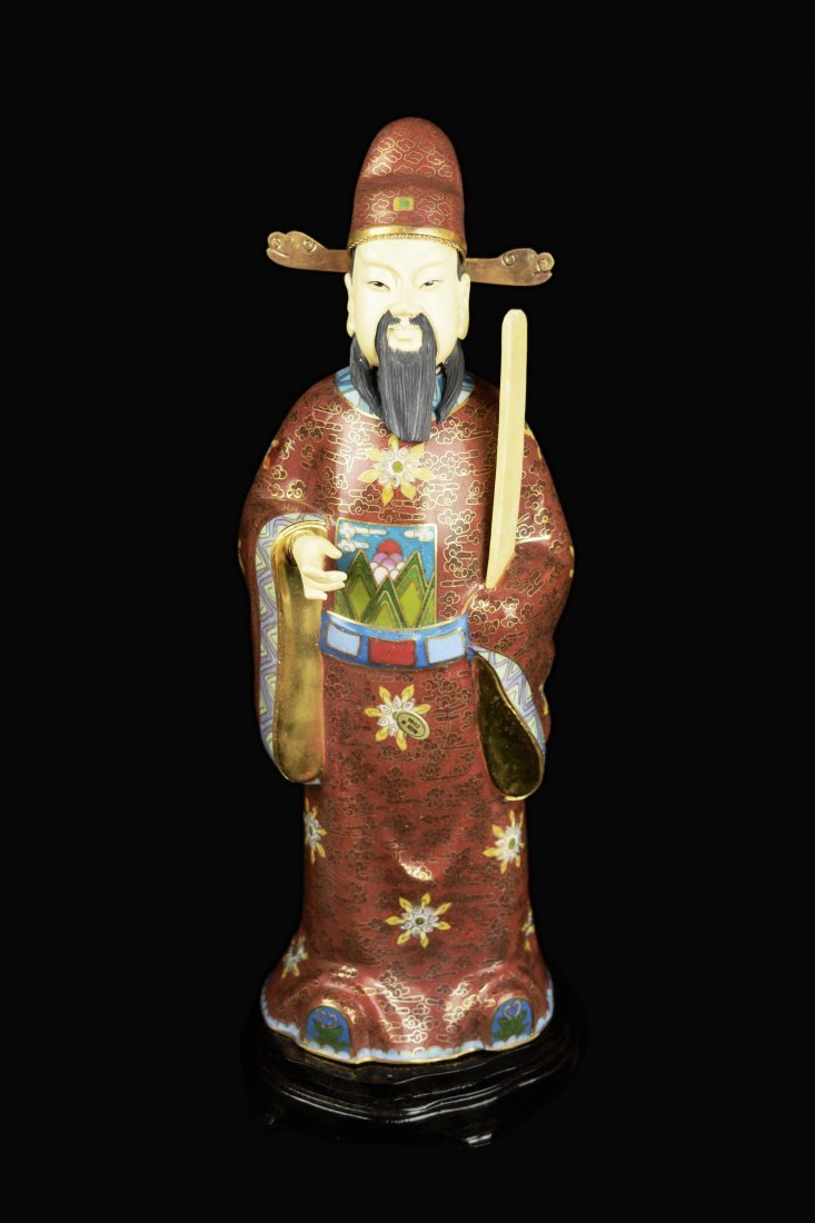 A Set of Three Republic Era Chinese Cloisonee Figurines - 3