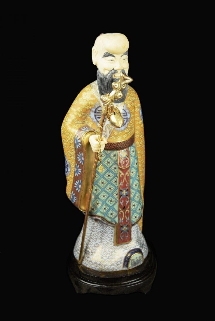 A Set of Three Republic Era Chinese Cloisonee Figurines - 4