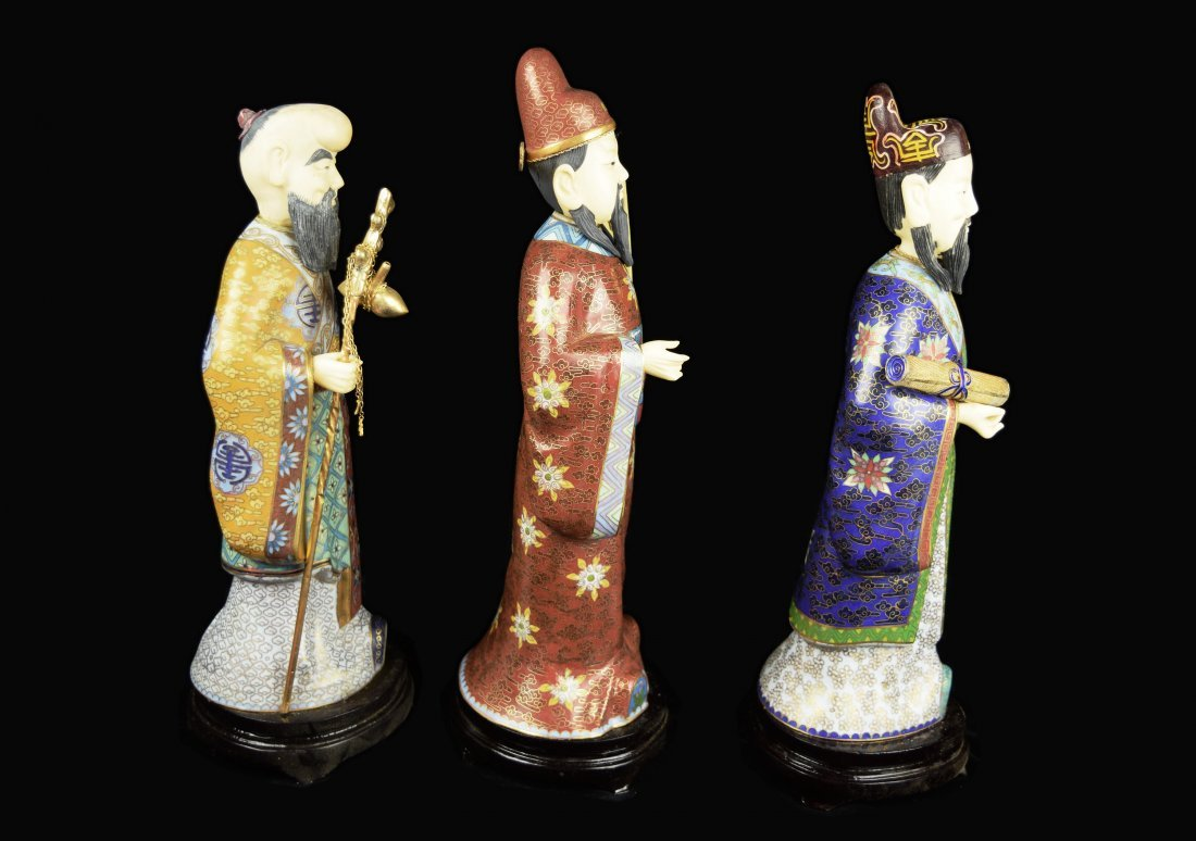 A Set of Three Republic Era Chinese Cloisonee Figurines - 5