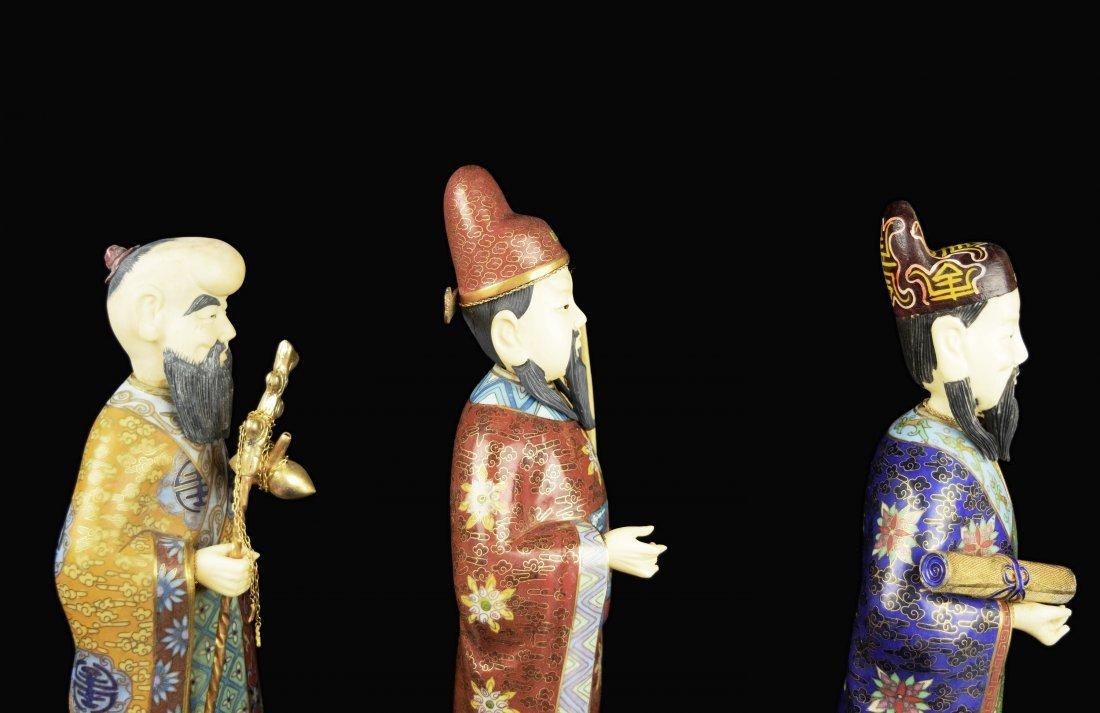 A Set of Three Republic Era Chinese Cloisonee Figurines - 6
