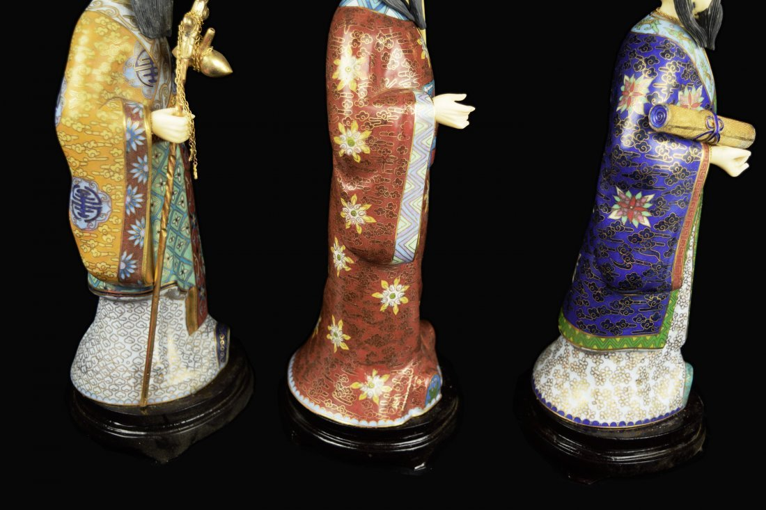 A Set of Three Republic Era Chinese Cloisonee Figurines - 7