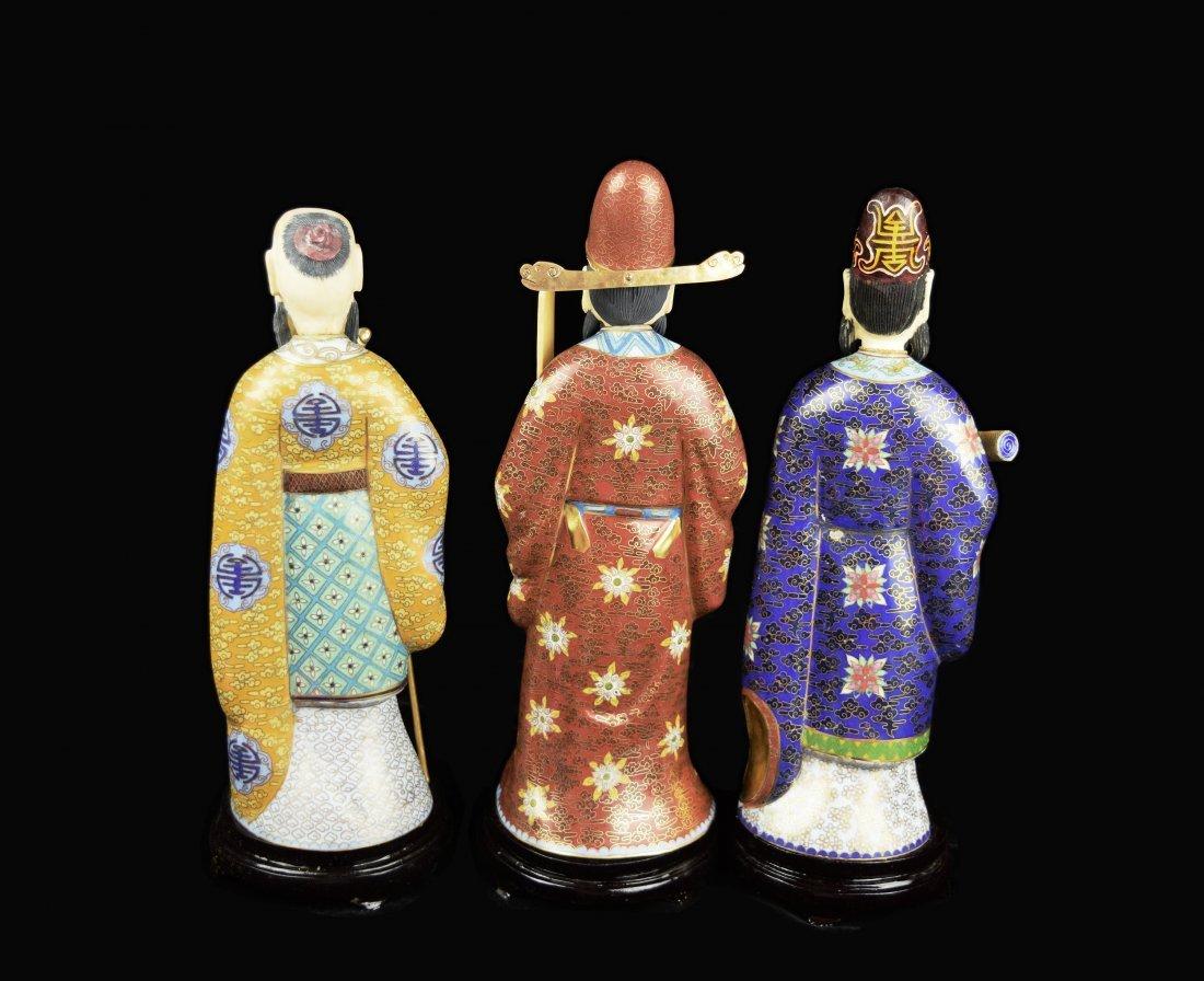 A Set of Three Republic Era Chinese Cloisonee Figurines - 8