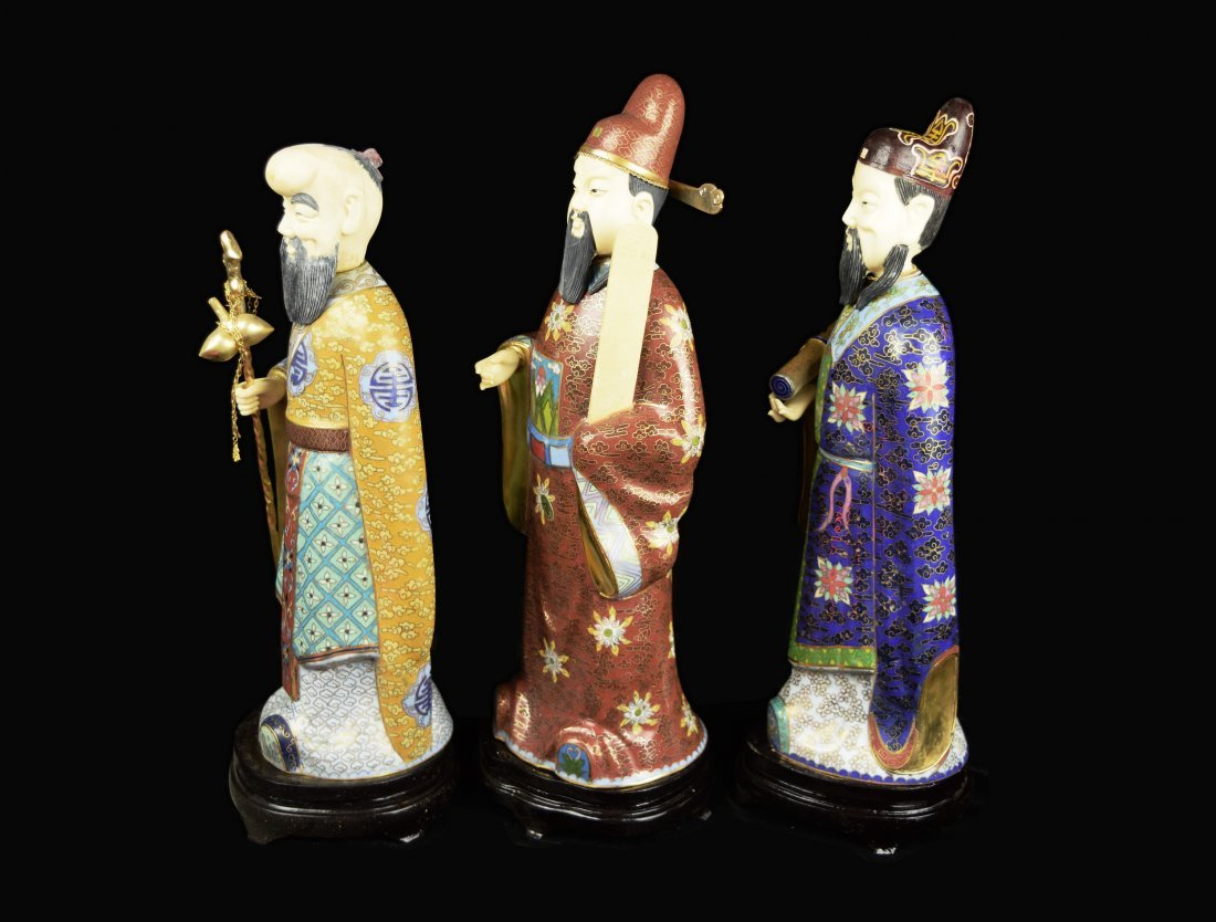 A Set of Three Republic Era Chinese Cloisonee Figurines - 9
