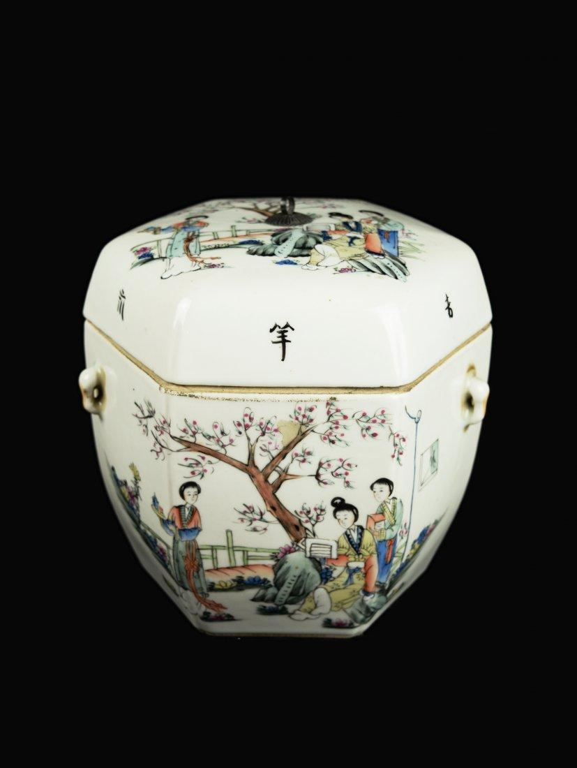 A Republic Era Chinese Famille Rose Porcelain Hexagon