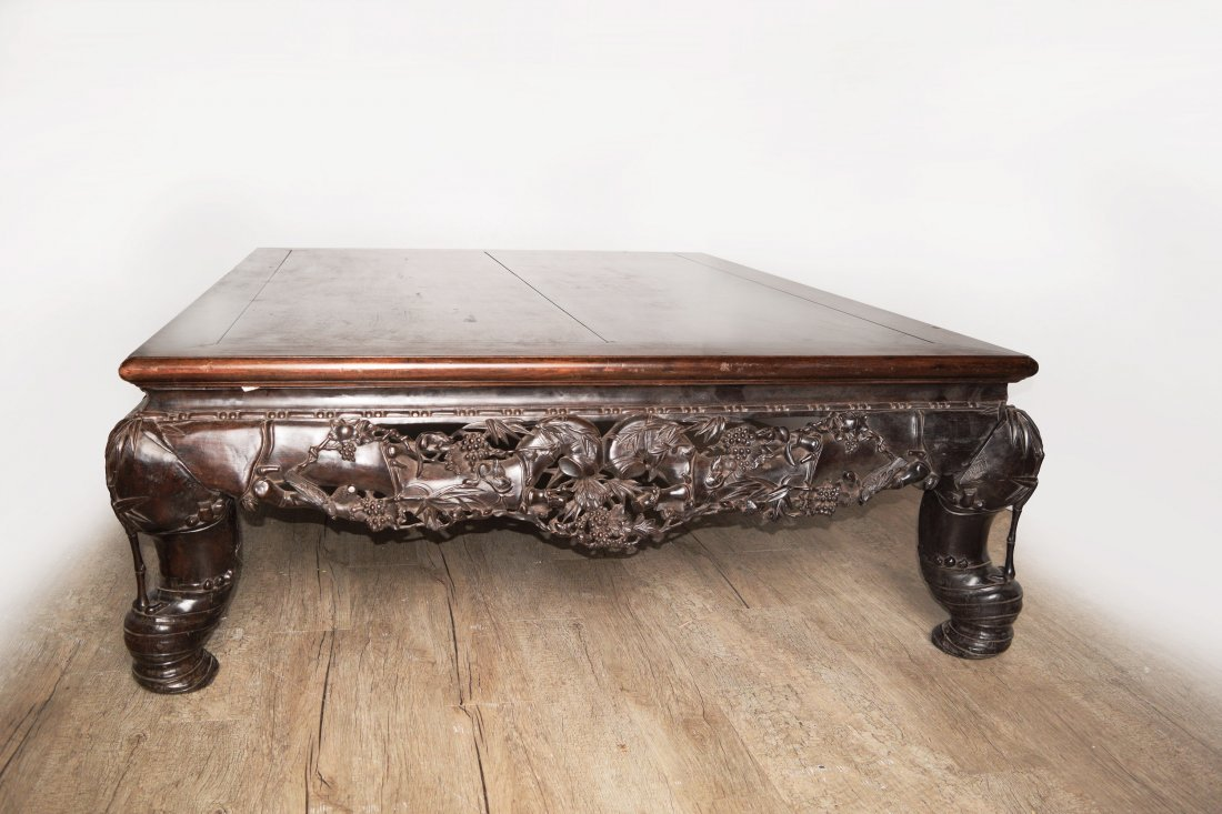 A Republic Era Chinese Old Hardwood Bed with Grapes,