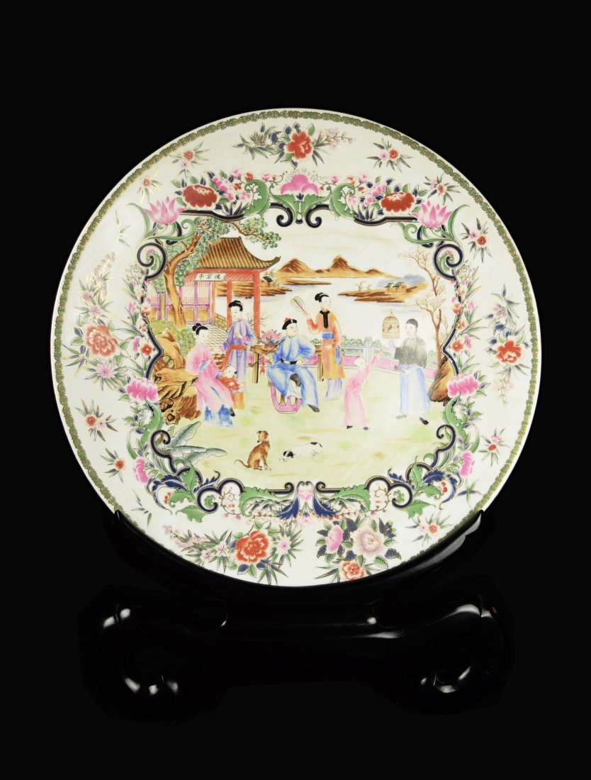 A Large Chinese Famille Rose Porcelain Decorative Plate