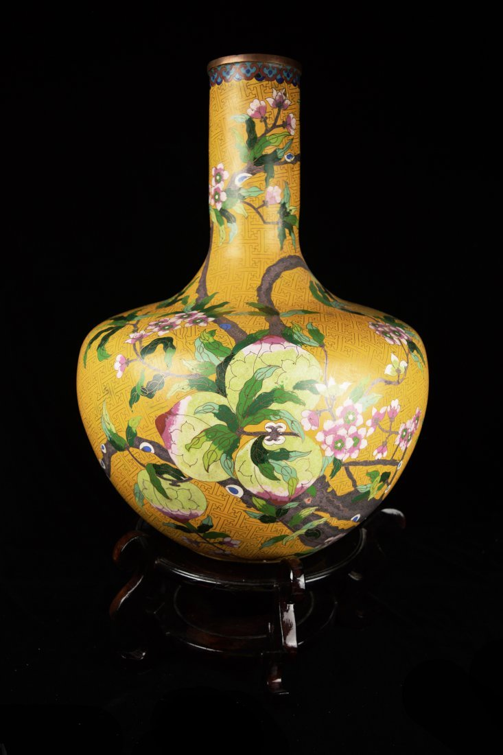 A 19th Century Large Chinese Yellow Ground Cloisonne