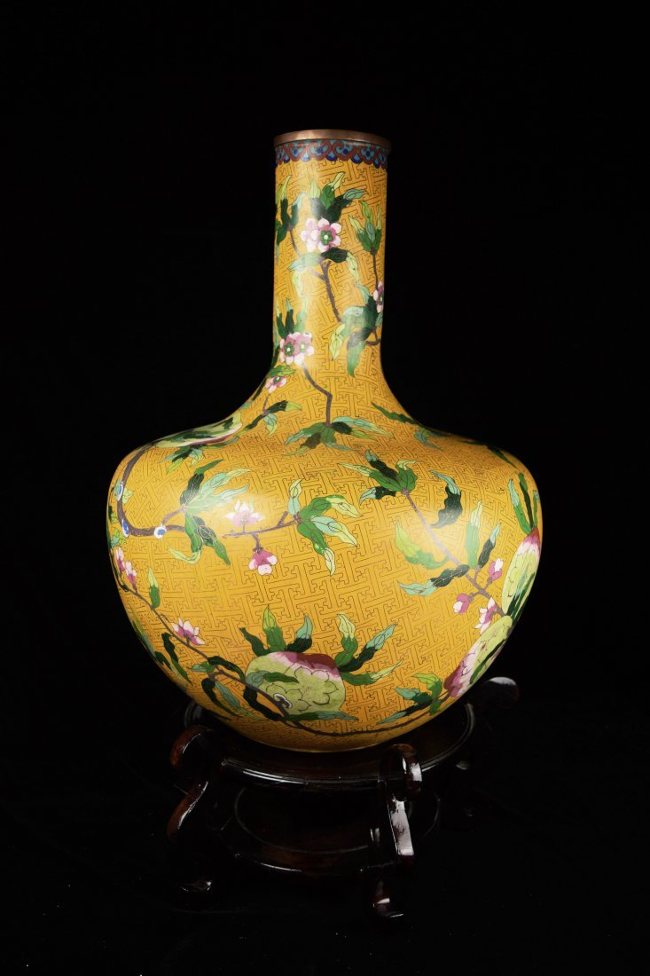 A 19th Century Large Chinese Yellow Ground Cloisonne - 3