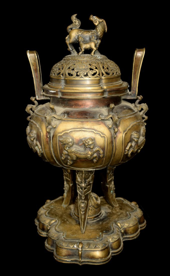 A Chinese Tripod Bronze Incense Burner with Lid of