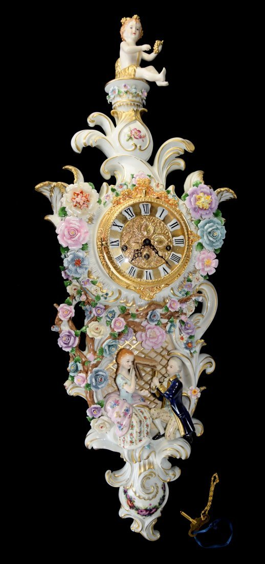 "Continental Porcelain ""Lover in Garden"" Wall Clock"