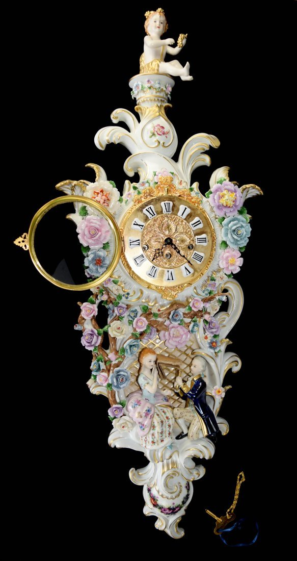 "Continental Porcelain ""Lover in Garden"" Wall Clock - 2"
